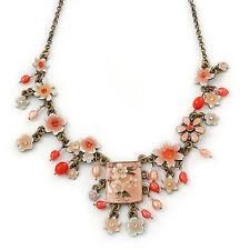 Vintage Inspired Light Coral Crystal, Enamel Flowers, Freshwater Pearls Charm Ne