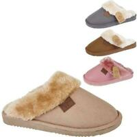 Ladies New Slip On Warm Winter Cosy Fur Lined Womens Hard Sole Mules Slippers UK