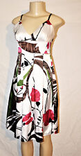 MARCIANO SATIN FLORAL DRESS EMPIRE WAIST WHITE / PINK  Sz S  NWT $108
