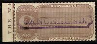 "India 1913 4R Court Fee ""Cancelled"" SPECIMEN / MH HR / Toned Gum - S2229"