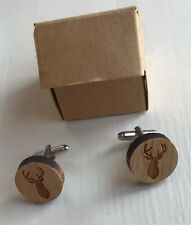 Wooden Stag Design Cufflinks. Boxed