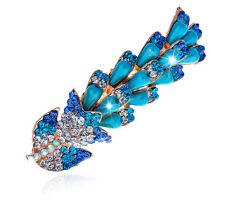 Turquoise Rainbow Pearls Rhinestones Flower Hair Barrette Accessories HA153