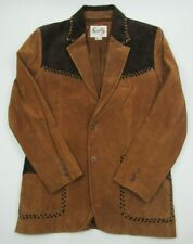 Scully Leather Suede Coat w/ Tooled Leather Accent Blazer Jacket Western Sz 38