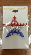 Patriotic Silver Rhinestone Red White and Blue Star Flag Pin #10S