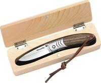 "Black Fox linerlock Folding Knife 2.88"" Stainless Steel Blade Zebra Wood Handle"