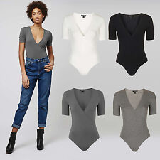 NEW TOPSHOP 4 Colour Crossover Poppered Bodysuit  - BLACK GREY IVORY SIZE 8 -16