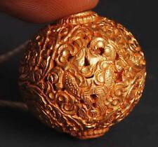 Auspicious Gilt Bead! Tibet Buddhist Treasure & Flower Amulet! Pendant