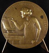 Medaille 1923 presse à gravure estampe Congrès des bibliophiles manuscrits medal