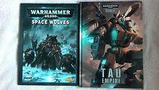Warhammer 40,000 CODEX TAU EMPIRE RARE HARDBACK + SPACE WOLVES BOOK VGC