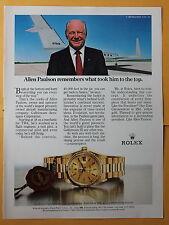 Magazine Print Ad 1983 Rolex President Day-Date Chronometer - Allen Paulson