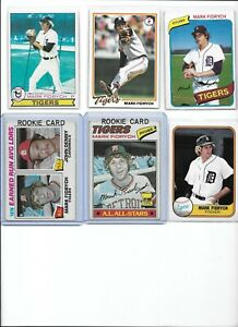 """Mark """"The Bird"""" Fidrych Tigers Lot of (6) w/ (2) 1977 Topps Rookies #265 & #7"""