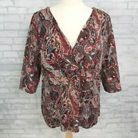 INC Womens Plus Size 2X 3X Knit Top Shirt Stretch Paisley 3/4 Sleeve Sequins