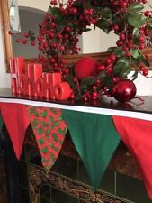 Christmas Bunting in Reds and Greens for Fireplaces or Walls