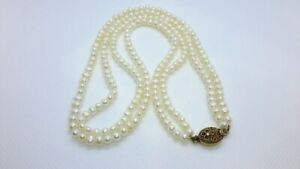 """Vintage Chinese Import Silver Clasp. 18"""" Double Strand Pearls Necklace. Nice!"""