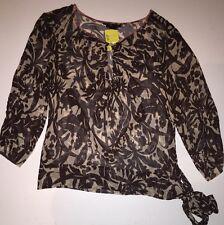 BCBG MAX AZRIA Sheer Silk Blouse Medium M Floral Tie Brown Pink Trim Top