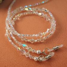 Sparkly Clear Teardrop Eyeglass Holder made with AB Swarovski Crystals EG1129