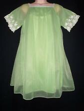 Vtg DOUBLE LAYER CHIFFON Nylon BABYDOLL NIGHTGOWN LIME GREEN Nighty L M Godfried