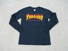 Thrasher Shirt Adult Small Black Orange Long Sleeve Skater Skateboard Mens *