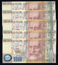 DE LA RUE GIORI - LE MONT 2000 FDS (SPECIMEN) 5 Biglietti Serie Consecutiva