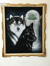 "WHITE WOLF AND BLACK WOLF WITH WATERFALL  ,  VELVET PAINTING,18"" BY 22""W, FRAME,"