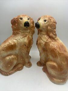 Vintage Staffordshire Style King Charles Cavalier Spaniel Lg Dog Figurines Pair