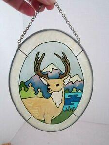 Joan Baker Hand painted Suncatcher Deer Buck outdoors nature woods mountain