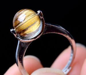 13.55ctNaturalGold Rutilated Quartz Crystal Woman Cure Powerful Ring Adjustable