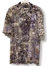 Just Cavalli Men's Sz 56 Multicolor Short Sleeve Abstract Floral Print Shirt euc