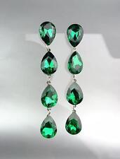 GLITZY Emerald Green Czech Crystals Chandelier Pageant Prom Bridal Earrings 4320