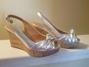 Silver wedge sandals 9.5