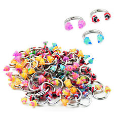 Wholesale Pack 100pcs Surgical Steel Horseshoe Eyebrow Circular Barbell w Spikes