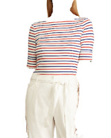 $289 Ralph Lauren Women's White Blue Red Striped Boat Neck Casual Top Size M