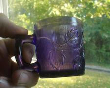 1880s Amethyst Stippled Leaves & Cherries Eapg Pressed Glass Child'S Mug
