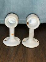 2 Lot Vintage WHITE ENAMELED CAST IRON TOWEL BAR ENDS Bathroom Hardware Antique