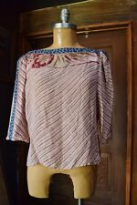 VTG TATTOO Womens Multi-Color Beige Geo-Floral 3/4 Sleeves Tunic Blouse Sz 13 M