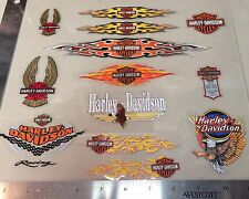 Lot Of 13 Vintage Harley-Davidson Decals, Inside Window Flames Harley Stickers.