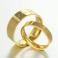 UK BOX SET Gold Lord of Ring Elvish Matching Wedding Band Titanium Ring Set H-Z6