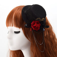 Vintage Girl's Black Mini Top Hat Hair Clip Lolita Rose Floral Lace Headwear