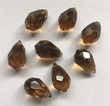Vintage Brown Teardrop Faceted Crystal Drop/Dangle Beads~Circa 30's-40's-8 pcs