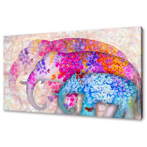 BEAUTIFUL COLOURFUL FLOWERS ASIAN ELEPHANTS BOX CANVAS PRINT WALL ART PICTURE