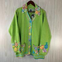 NWT Storybook Knit Cardigan Sweater Women's Size 1X Seashells Ocean Beach