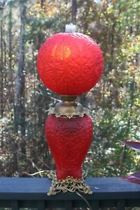 PITTSBURGH LAMP BRASS GLASS CO DOUBLE DOLPHIN RED SATIN GLASS OIL LAMP