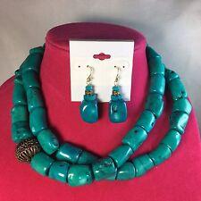 "Studio Barse Bronze Turquoise 2 Strand Beaded 17-1/2"" Necklace Earrings Set"