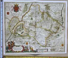 Historic Antique vintage Blaeu Map of Navarra, North Spain 1635 1600's: REPRINT