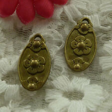 free ship 55 pieces bronze plated flower charms 21x12mm #3069