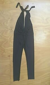 CHICABOOTI womens halter neck plunging disco jumpsuit catsuit 70s size 10 black