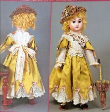"20-21""ANTIQUE FRENCH JUMEAU DOLL DRESS/RIBBON ROSES&LACE TRIM PATTERN GERMAN"