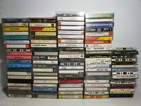 101 Mixed LOT Audio Cassette Tapes pre-recorded most with cases sold as blank D1