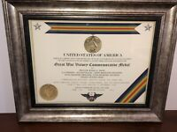 GREAT WAR VICTORY (WWI) COMMEMORATIVE MEDAL CERTIFICATE ~ Type 1