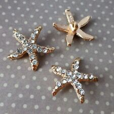 Pack of 4 Gold Rhinestone Shank Button Starfish